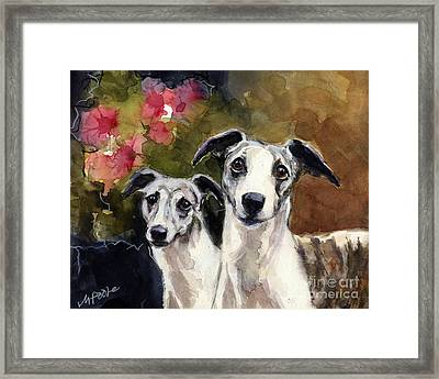 Framed Print featuring the painting Whippets by Molly Poole