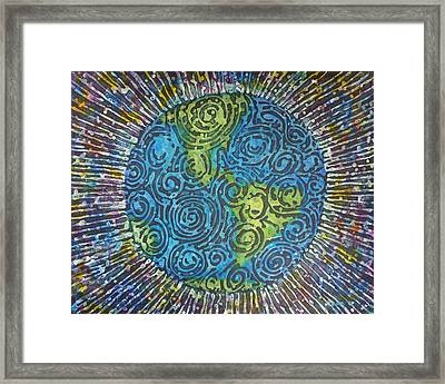 Framed Print featuring the painting Whirled Piece by Amelie Simmons