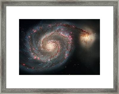 Whirlpool Galaxy And Companion  Framed Print by Hubble Space Telescope