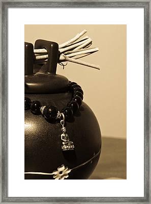 Whishing Jar And Buddha Framed Print by Edward Myers