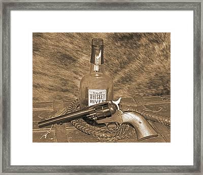 Whiskey And A Gun Framed Print