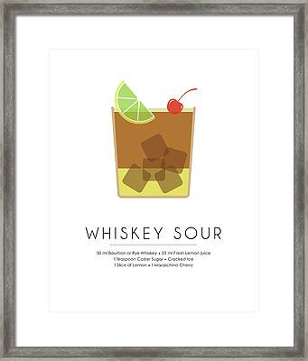 Whiskey Sour Classic Cocktail Minimalist Print Framed Print