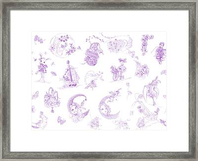 Whispering Daydreams Toile De Jouy In Lavender Framed Print