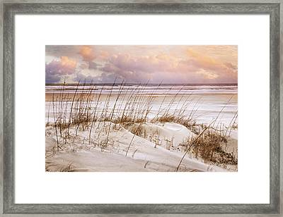 Framed Print featuring the photograph Whispers In The Dunes by Debra and Dave Vanderlaan