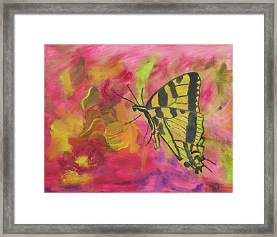 Whispers Of Wings And Petals Framed Print by Meryl Goudey