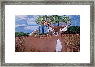 Whit Tall Buck Framed Print by  Richard  Rollings