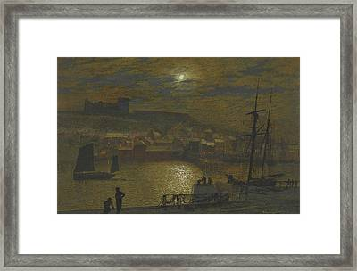 Whitby From Scotch Head Moonlight On The Esk Framed Print by John Atkinson Grimshaw