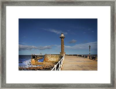 Whitby Lighthouse Framed Print by Nichola Denny