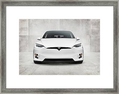 White 2017 Tesla Model X Electric Car Front View Framed Print