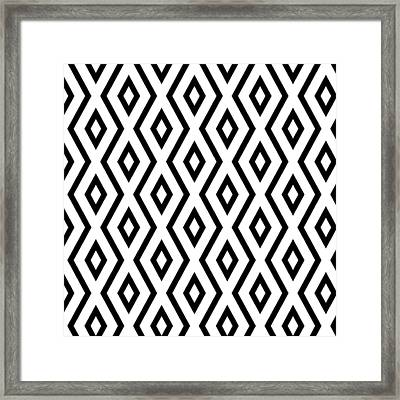 White And Black Pattern Framed Print