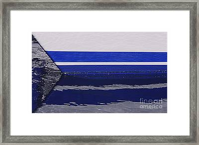 White And Blue Boat Symmetry Framed Print