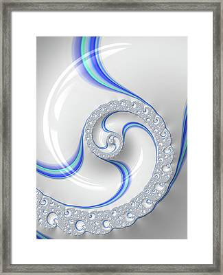 Framed Print featuring the digital art White And Blue Spiral Elegant And Minimalist by Matthias Hauser