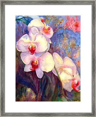 White And Fuchsia Orchids Framed Print by Estela Robles