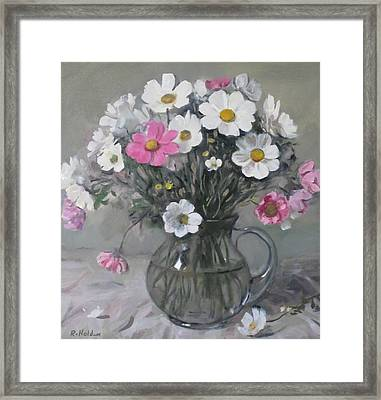 White And Pink Cosmos Bouquet In Water Pitcher No. 2 Framed Print