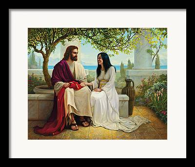 Jesus With A Woman Framed Prints