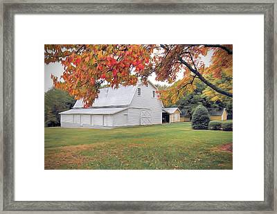 White Barn In Autumn Framed Print
