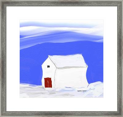 White Barn Red Doors Framed Print