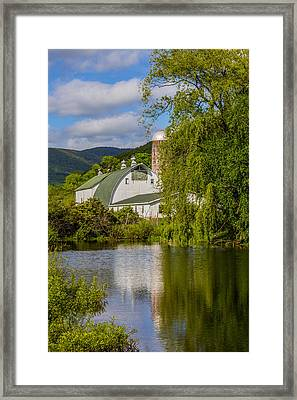 Framed Print featuring the photograph White Barn Reflection In Pond by Paula Porterfield-Izzo