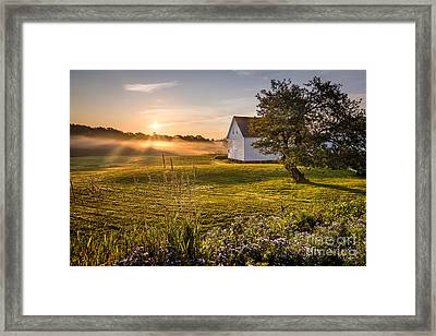 White Barn Sunrise Framed Print by Benjamin Williamson
