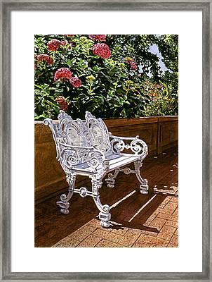 White Bench With Hydrangeas Framed Print by David Lloyd Glover