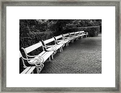 White Benches-  By Linda Wood Woods Framed Print by Linda Woods