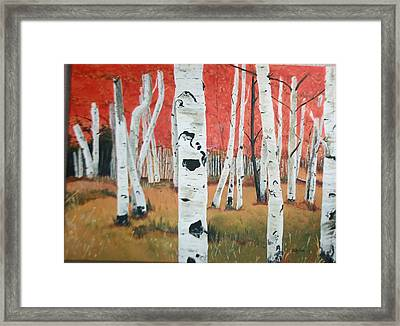 Framed Print featuring the painting White Birches by Betty-Anne McDonald