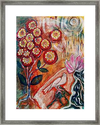 Framed Print featuring the mixed media White Bird by Mimulux patricia no No