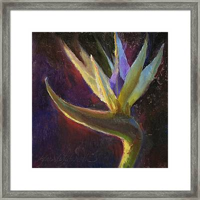 Framed Print featuring the painting White Bird Of Paradise -tropical Flower Painting by Karen Whitworth