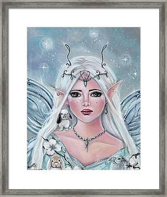 White Blossom Elf Framed Print