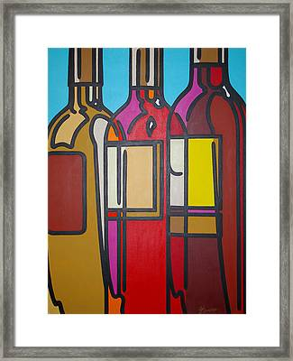White Blush And Red Framed Print by Guadalupe Herrera