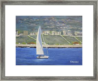 White Boat, Blue Sea Framed Print