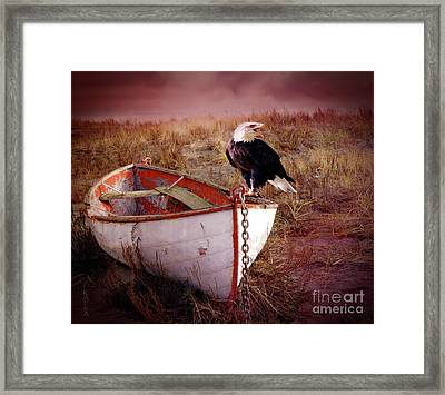 White Boat Framed Print