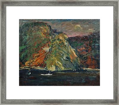 White Boat On The Hudson River Framed Print by MotionAge Designs