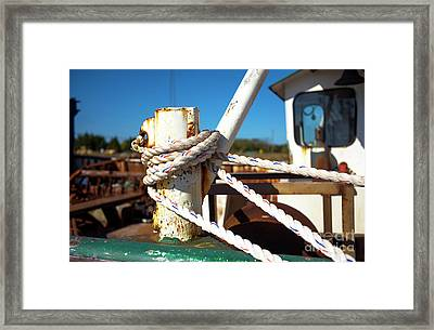 Framed Print featuring the photograph White Boat Rope by John Rizzuto
