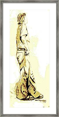White Boy Standing On Table Framed Print by Sheri Buchheit