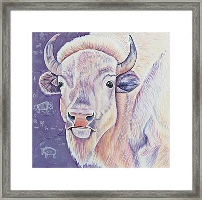 White Buffalo Framed Print by Lucy Deane