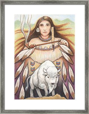 White Buffalo Woman Framed Print by Amy S Turner