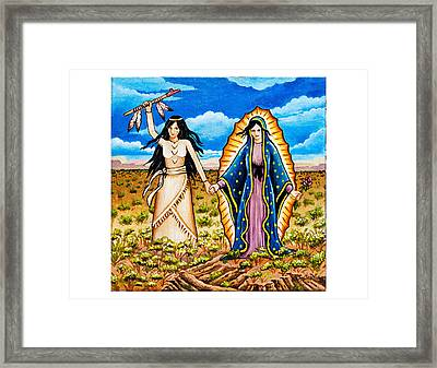 White Buffalo Woman And Guadalupe Framed Print