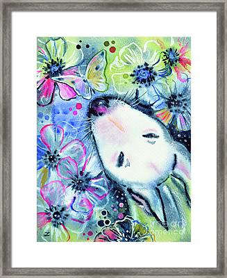 Framed Print featuring the painting White Bull Terrier And Butterfly by Zaira Dzhaubaeva