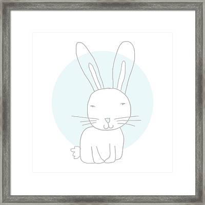 White Bunny On Blue- Art By Linda Woods Framed Print by Linda Woods