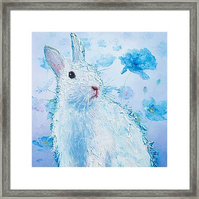White Bunny On Blue Floral Background Framed Print by Jan Matson