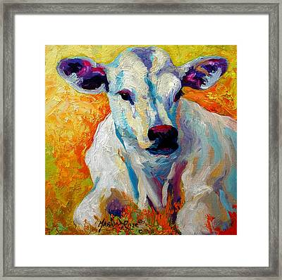 White Calf Framed Print by Marion Rose