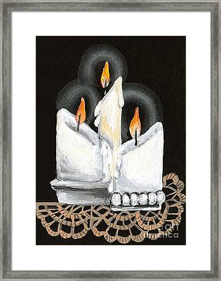 White Candle Trio Framed Print
