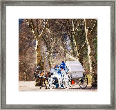 White Carriage In Central Park Framed Print