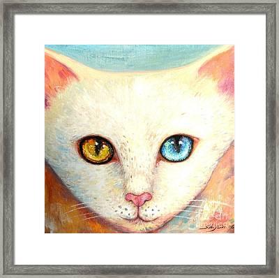 White Cat Framed Print by Shijun Munns