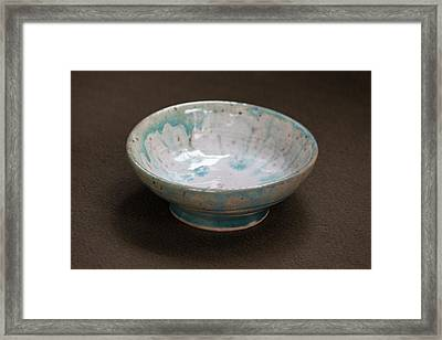 White Ceramic Bowl With Turquoise Blue Glaze Drips Framed Print by Suzanne Gaff