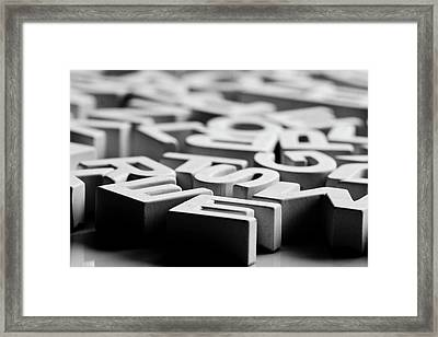 White Ceramic Letters Framed Print by Michelle Shinners
