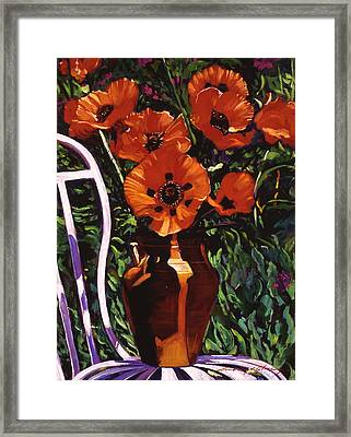 White Chair, Red Poppies Framed Print by David Lloyd Glover
