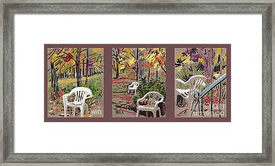 White Chairs And Birdhouses 1 Framed Print by Donald Maier