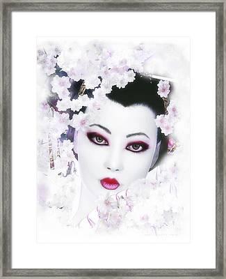 White Cherry Blossom Geisha Framed Print by Shanina Conway